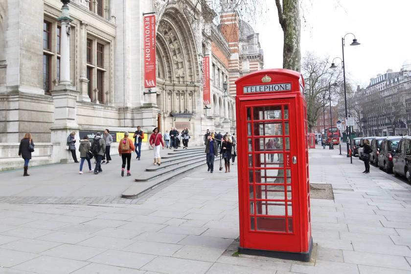 phone box, london, victoria and albert,